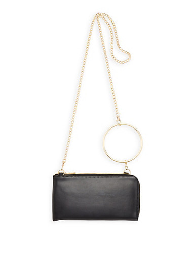 O Ring Detail Faux Leather Clutch,BLACK,large