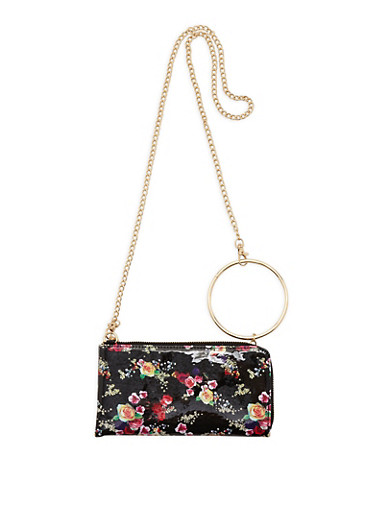 O Ring Detail Floral Faux Leather Clutch,BLACK,large
