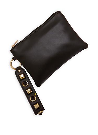 Studded Strap Wristlet,BLACK,large