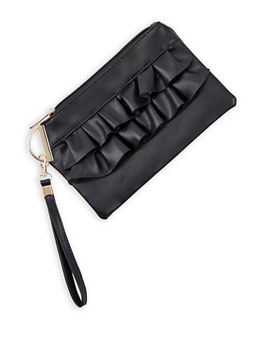 Ruffled Faux Leather Wristlet,BLACK,large