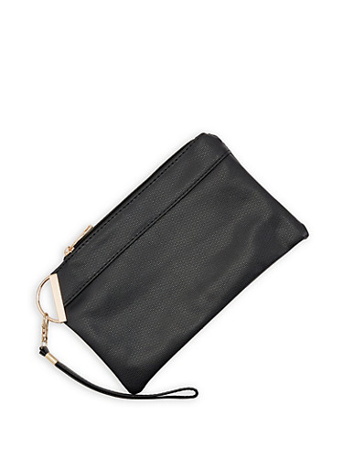 Faux Leather Wristlet,BLACK,large