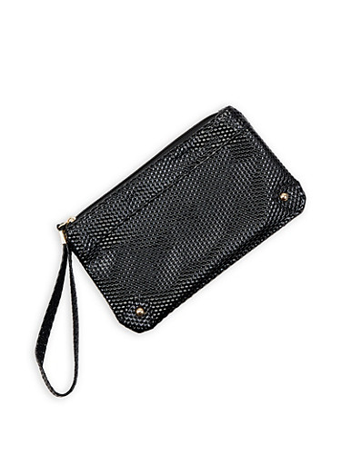 Textured Faux Patent Leather Wristlet,BLACK,large
