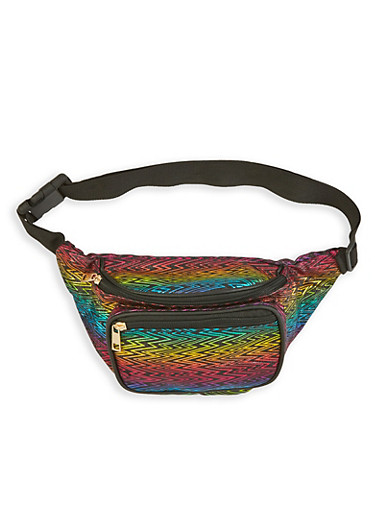 Glitter Zig Zag Print Fanny Pack,MULTI COLOR,large
