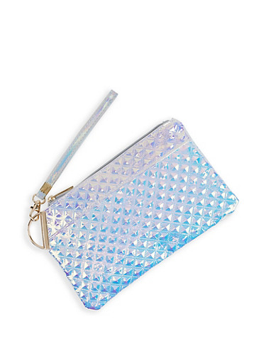 Iridescent Embossed Clutch,SILVER,large