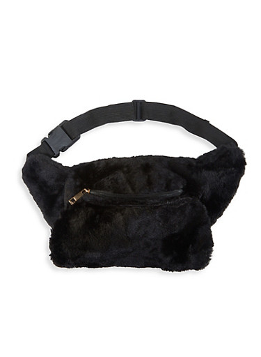 Faux Fur Hand Muff Fanny Pack,BLACK,large