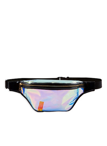 Large Iridescent Fanny Pack,BLACK,large