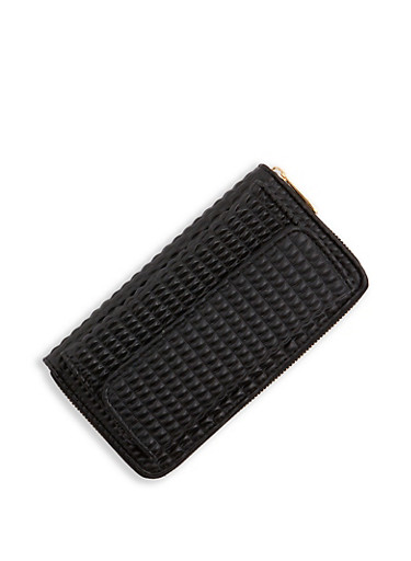Faux Leather Zip Around Wallet   3126067448202,BLACK,large
