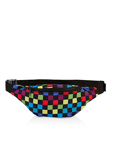 Zip Checkered Fanny Pack,BLACK,large