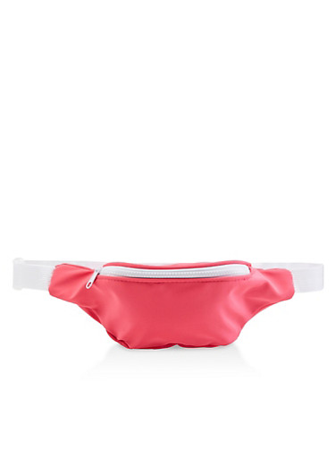 Nylon Contrast Trim Fanny Pack,NEON PINK,large