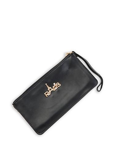 Paris Faux Leather Wallet,BLACK,large
