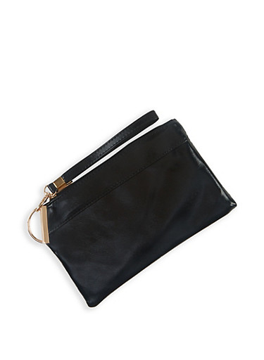 Faux Leather Wristlet | 3126067448844,BLACK,large
