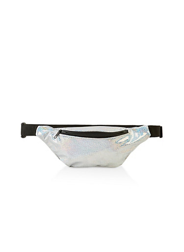 Holographic Glitter Fanny Pack,SILVER,large