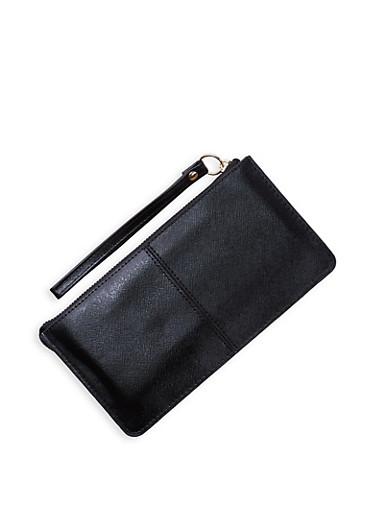 Textured Faux Leather Wristlet   3126067449029,BLACK,large