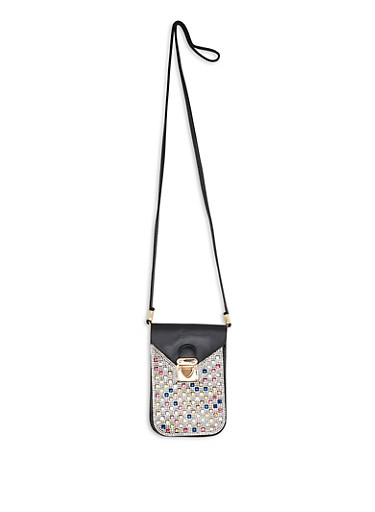 Rhinestone Studded Slim Crossbody Bag,BLACK,large