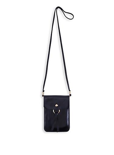 O Ring Detail Slim Crossbody Bag,BLACK,large