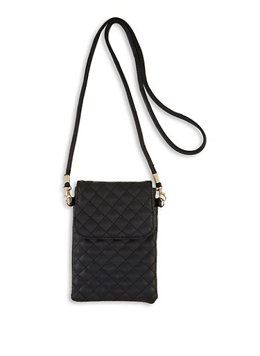 Small Quilted Crossbody Bag,BLACK,large