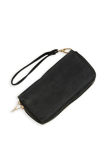 Faux Leather Double Zip Wristlet,BLACK,large