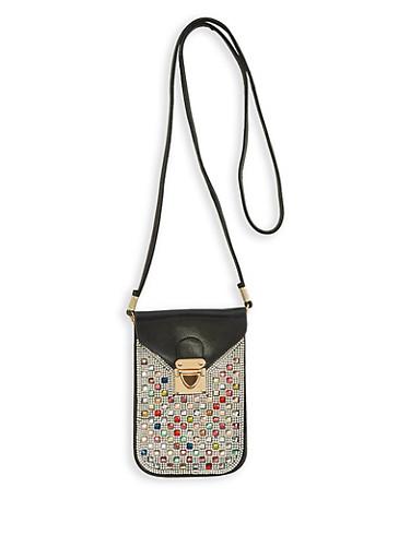 Jewel Studded Cellphone Crossbody Bag,BLACK,large