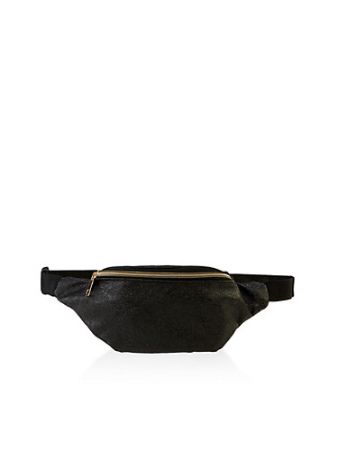 Textured Faux Leather Fanny Pack | 3126067449063,BLACK,large