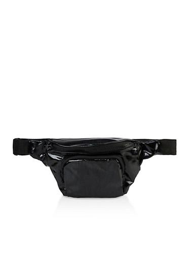 Zip Pocket Fanny Pack,BLACK,large