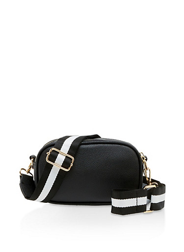 Striped Strap Crossbody Bag,BLACK,large