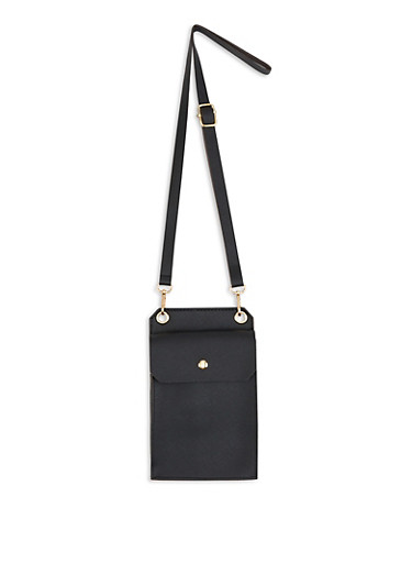 Skinny Faux Leather Crossbody Bag,BLACK,large