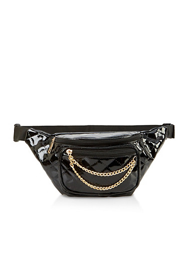 Faux Patent Leather Quilted Chain Fanny Pack,BLACK,large