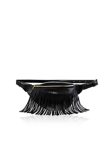 Faux Leather Fringe Belt Bag,BLACK,large