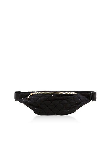 Sequin Quilted Fanny Pack,BLACK,large