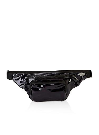 Faux Patent Leather Double Zip Fanny Pack,BLACK,large