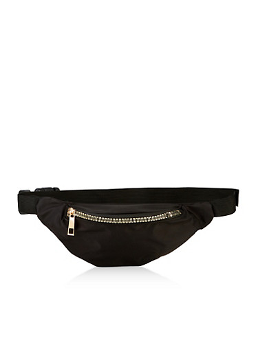 Solid Metallic Zip Fanny Pack,BLACK,large