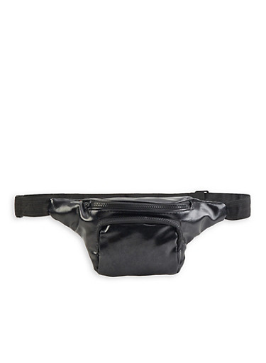 Faux Saffiano Leather Fanny Pack | 3126067449119,BLACK,large