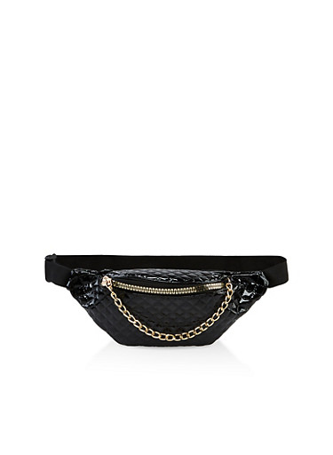 Quilted Faux Leather Zip Fanny Pack,BLACK,large