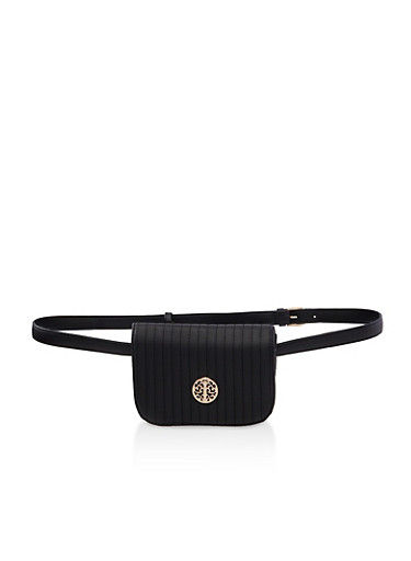 Quilted Mini Belt Bag,BLACK,large