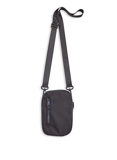 Mini Nylon Crossbody Bag,BLACK,large