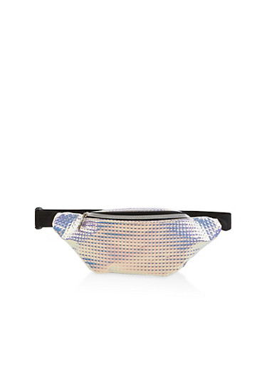 Iridescent Embossed Single Zip Fanny Pack,WHITE,large