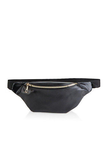 Single Zip Faux Leather Fanny Pack,BLACK,large