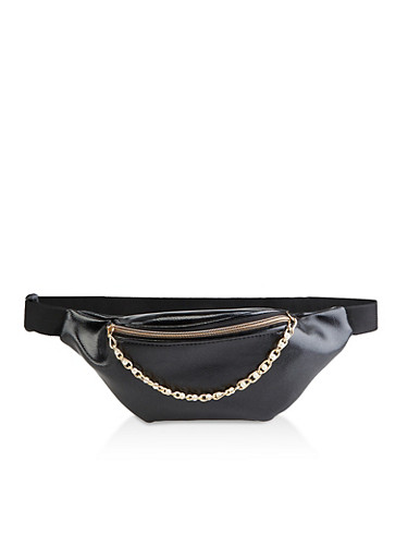 Faux Pearl Chain Zip Fanny Pack,BLACK,large