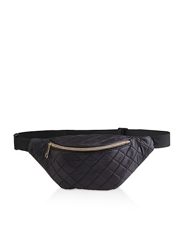 Quilted Single Zip Fanny Pack,BLACK,large