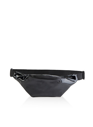 Jelly Single Zip Fanny Pack,BLACK,large