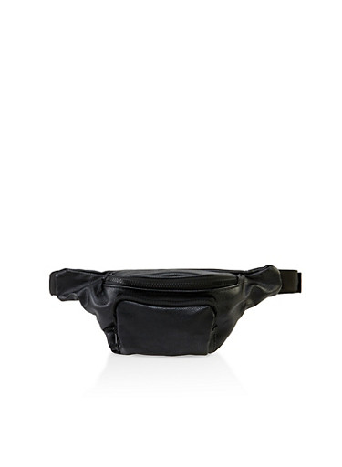 Pebbled Faux Leather Fanny Pack,BLACK,large