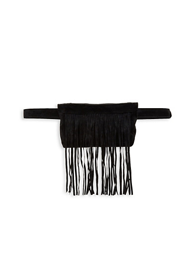 Faux Suede Fringe Belt Bag,BLACK,large