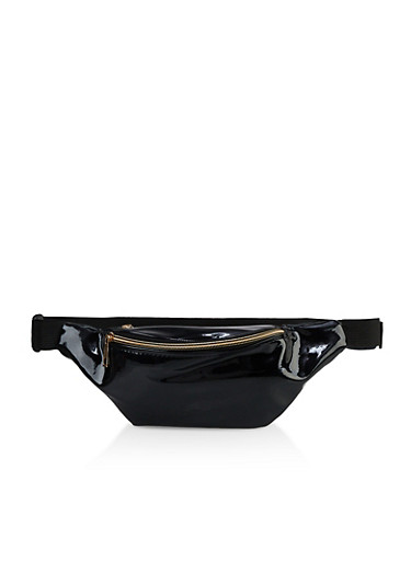 Faux Patent Leather Fanny Pack | 3126067449154,BLACK,large