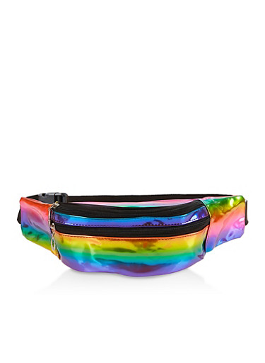 Iridescent Rainbow Double Zip Fanny Pack,MULTI COLOR,large