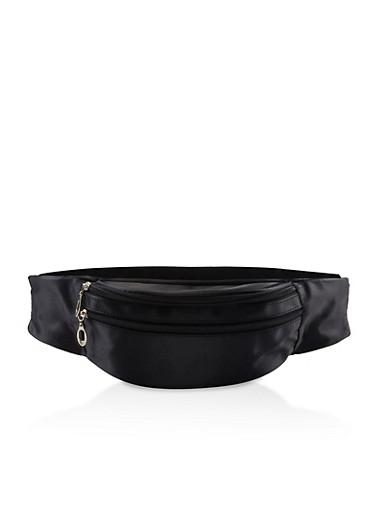 Double Zip Satin Fanny Pack,BLACK,large