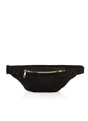 Sequin Detail Nylon Fanny Pack,BLACK,large