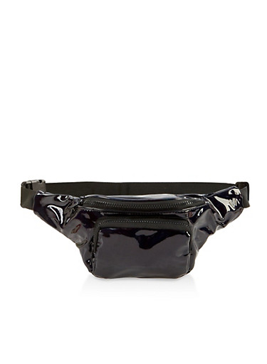 Double Zip Fanny Pack,BLACK,large