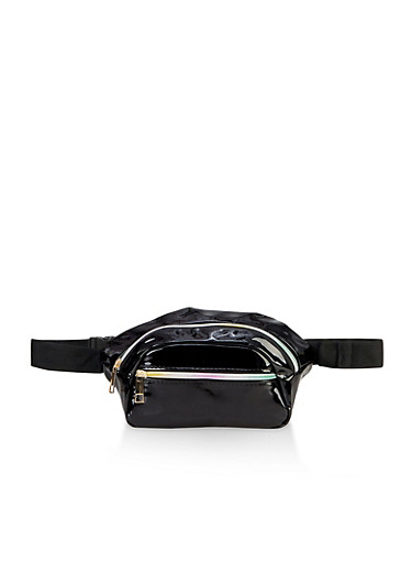 Rainbow Zipper Fanny Pack,BLACK,large