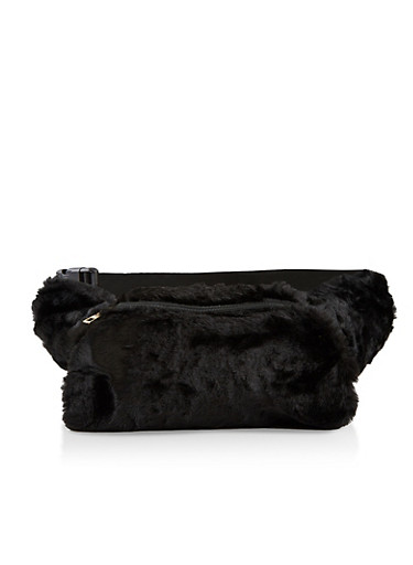 Faux Fur Muff Fanny Pack,BLACK,large