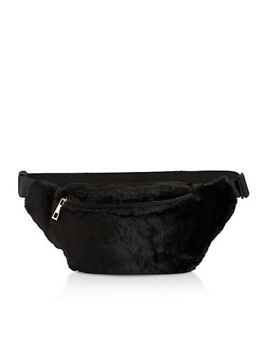 Faux Fur Single Zip Fanny Pack,BLACK,large
